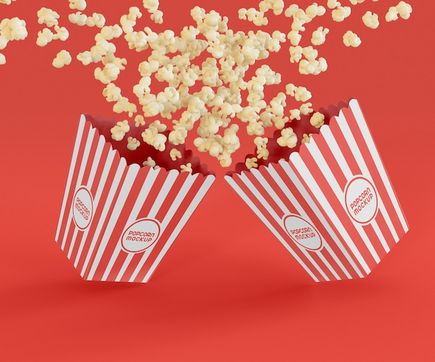 Two buckets with popcorn mockup Free Psd