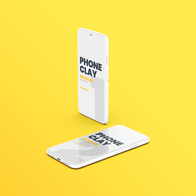 Two clay phone devices mockup Premium Psd