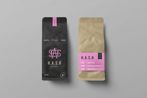 Two coffee bag mockups Premium Psd