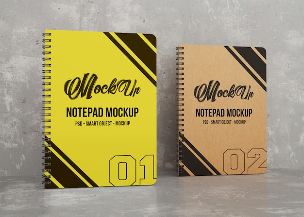 Two colored notepad mockup Premium Psd