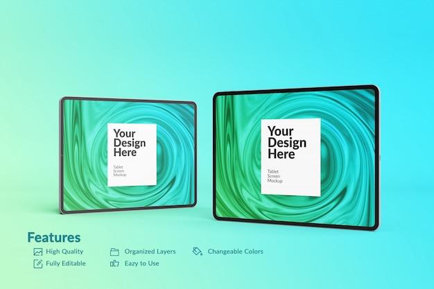 Two editable digital device tablet screen mockup Premium Psd