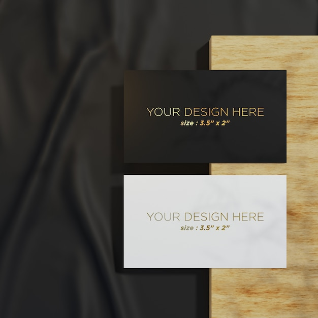 Two elegant business card mockup template on the top view Premium Psd