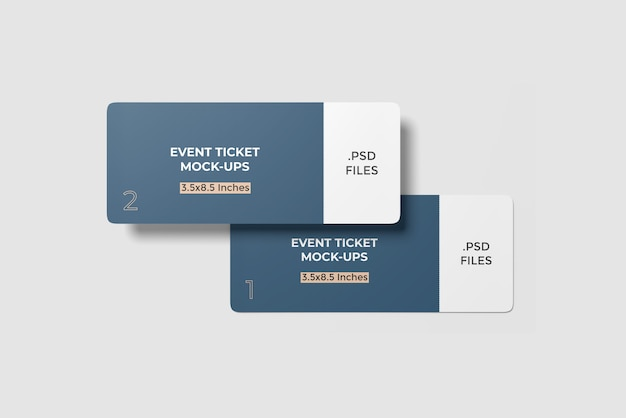 Two event ticket mockups top angle view Premium Psd