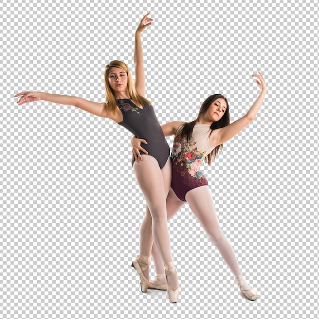 Two girls dancing ballet Premium Psd