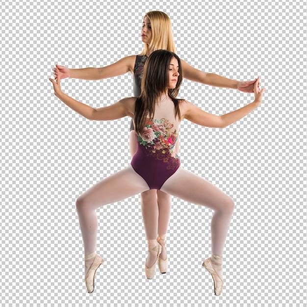 Two girls dancing ballet Premium Psd