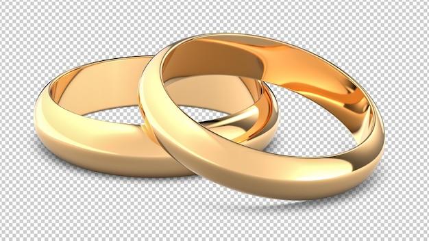 Два золотых обручальных кольца изолированы Premium Psd