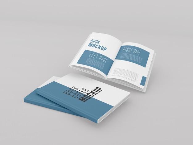 開いた本のモックアップ付きの2つのハードカバー 無料 Psd
