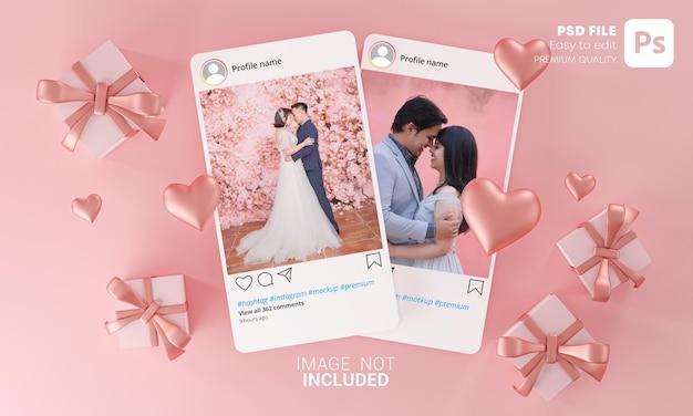 2つのinstagramの投稿モックアップテンプレートバレンタインの結婚式の愛のハートの形とギフトボックスの飛行 Premium Psd