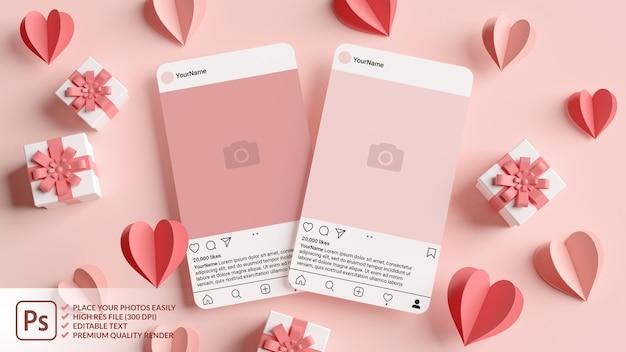 ピンクのハートと3dレンダリングでバレンタインデーのギフトを含む2つのinstagram投稿モックアップ Premium Psd