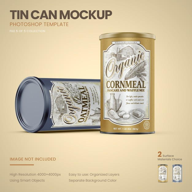 Two large tin cans standing mockup Premium Psd