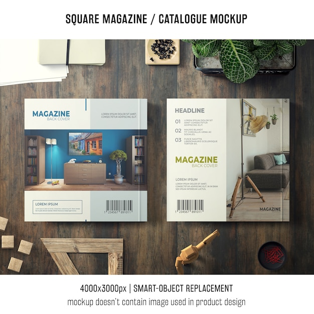 Two modern square magazine or catalogue mockups Free Psd