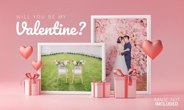 Шаблон мокапа две фоторамки любовь сердце валентина свадебные пригласительные открытки Premium Psd
