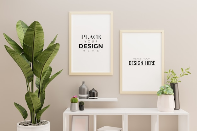 거실 인테리어에 두 개의 포스터 프레임 모형 무료 PSD 파일