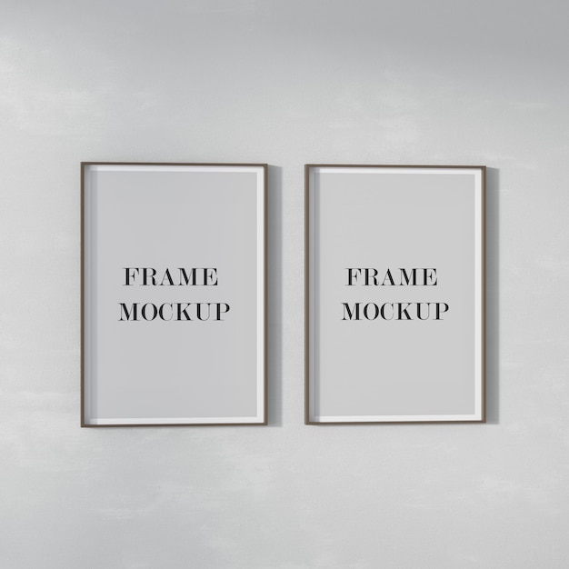 Two poster frames mockup on the wall Premium Psd
