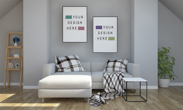 Two poster mockup on attic living room 3d rendering Premium Psd