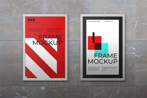Макет рамки для двух постеров Бесплатные Psd