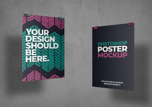 두 개의 포스터 모형 무료 PSD 파일