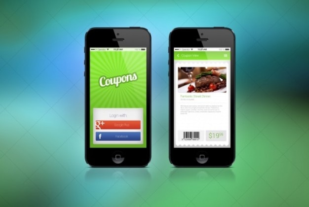 Two screens for coupon app Free Psd