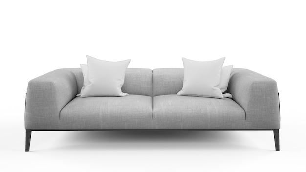 Divano grigio a due posti con due cuscini, isolato Psd Gratuite