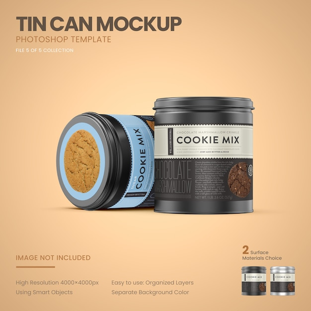 Two small tin cans standing mockup Premium Psd
