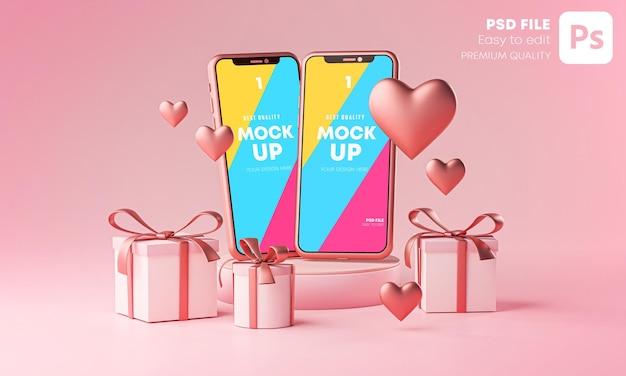 두 스마트 폰 모형 발렌타인 데이 테마 사랑 하트 모양 및 선물 상자 3d 렌더링 프리미엄 PSD 파일