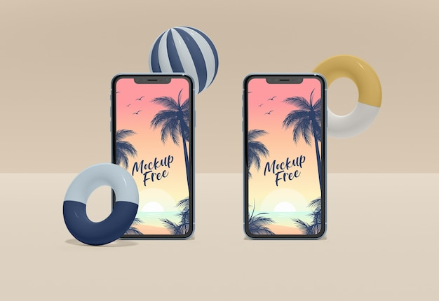 Two smartphones mock-up Free Psd