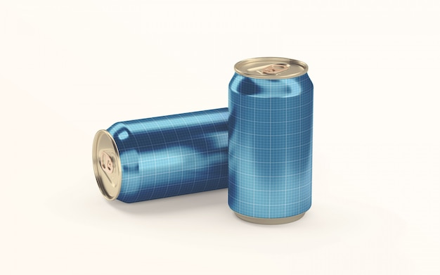 Two soda drink cans on ground mockup Premium Psd