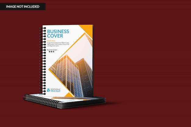 Two spiral notebooks mock up Premium Psd