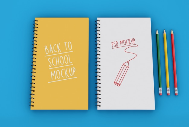 Two spiral notepads with pencils mockup template Premium Psd