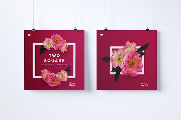 두 개의 사각형 교수형 포스터 이랑 프리미엄 PSD 파일