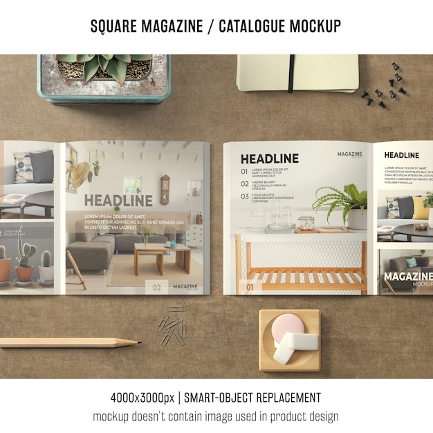 Two square magazine or catalogue mockups with still life Free Psd