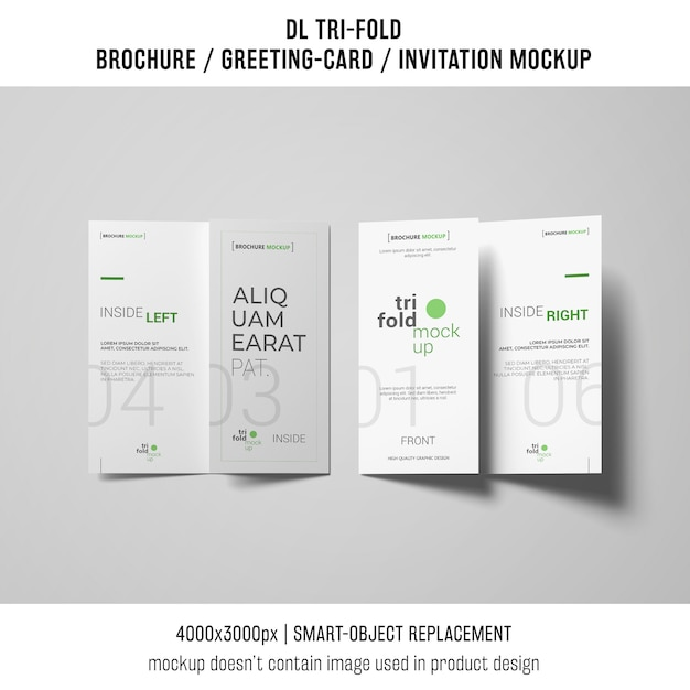 Two trifold brochure or invitation mockup Free Psd