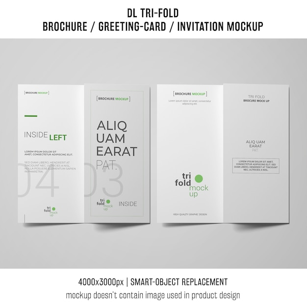 two trifold brochure or invitation mockups next to each other Free Psd