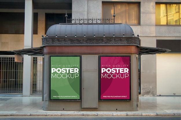 두 도시 포스터 모형 무료 PSD 파일