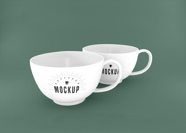 두 개의 흰색 커피 컵 psd 이랑 무료 PSD 파일