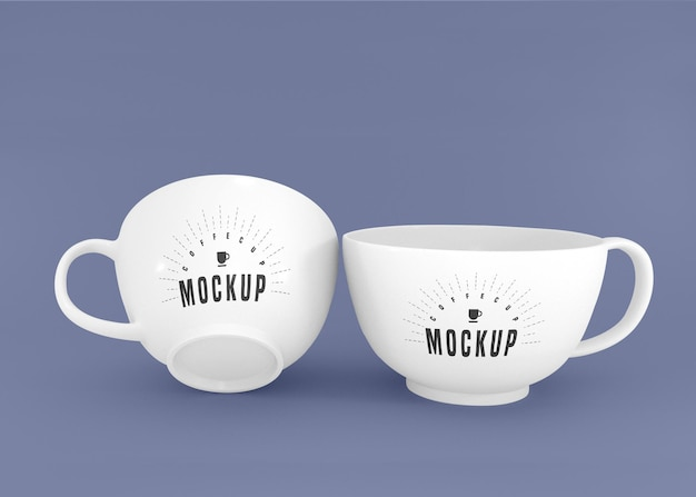 Two white coffee cup psd mockup Free Psd