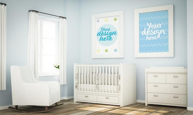 Макет двух белых рамок на синей детской комнате 3d-рендеринга Premium Psd