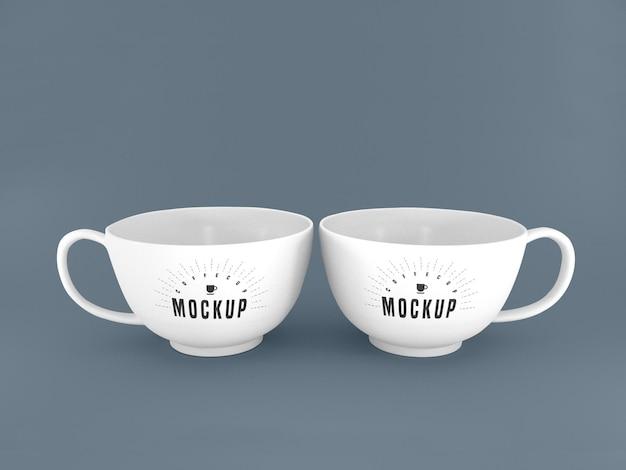 Two white mugs mockup Free Psd