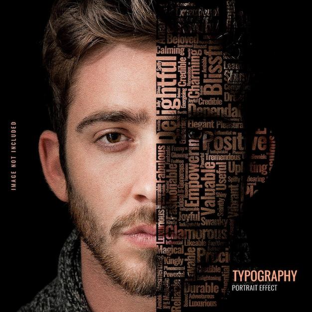 Typography portrait photo template Premium Psd