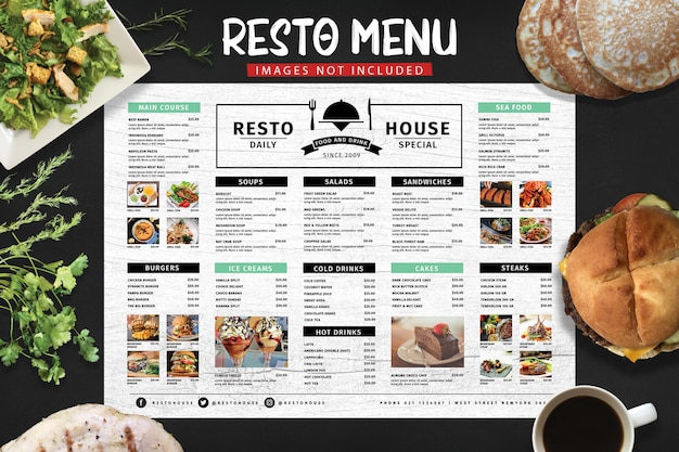 Typography restaurant menu Premium Psd