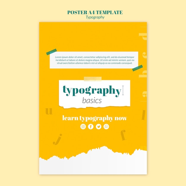 Typography service flyer template Free Psd