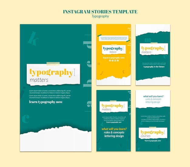 Typography service instagram stories template Free Psd