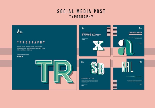 Типография пост в социальных сетях Бесплатные Psd