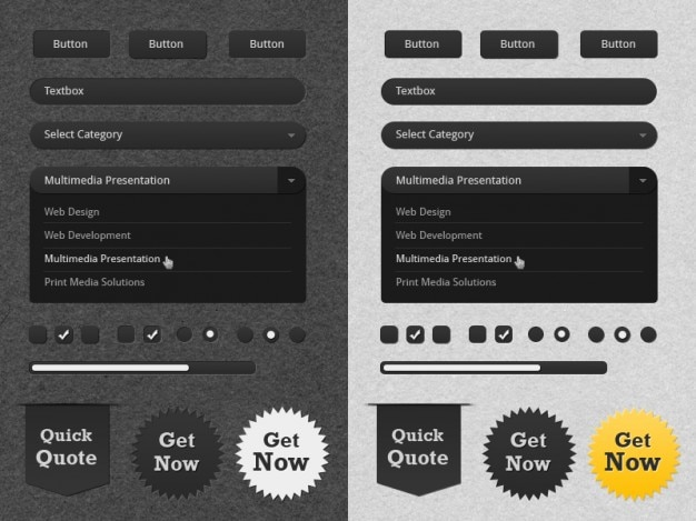 Ui kit with badges in white and black Free Psd