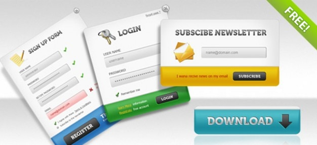 ui psd pack sign up forms login panels subscribe forms