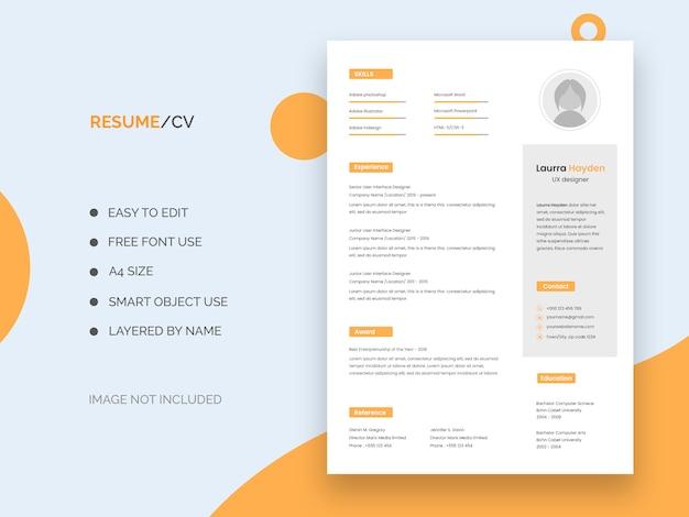 Ui Ux Designer Resume Template Premium Psd File