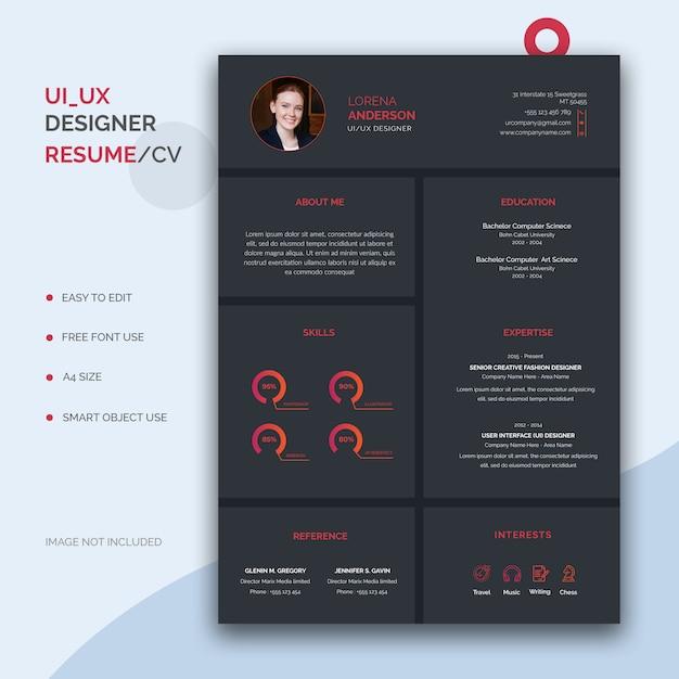 Ui/ux designer resume template Premium Psd
