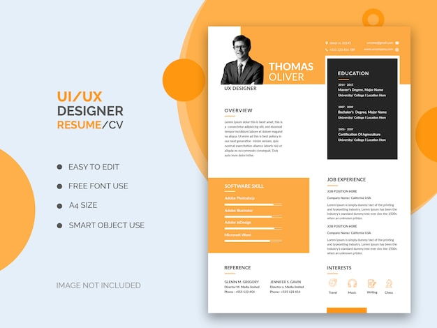 Ui_ux resume or cv template Premium Psd