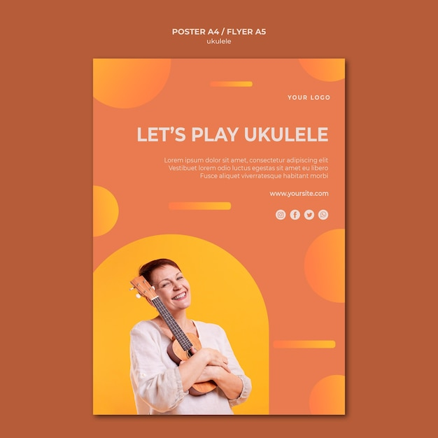 Modello di poster pubblicitario di ukulele Psd Gratuite