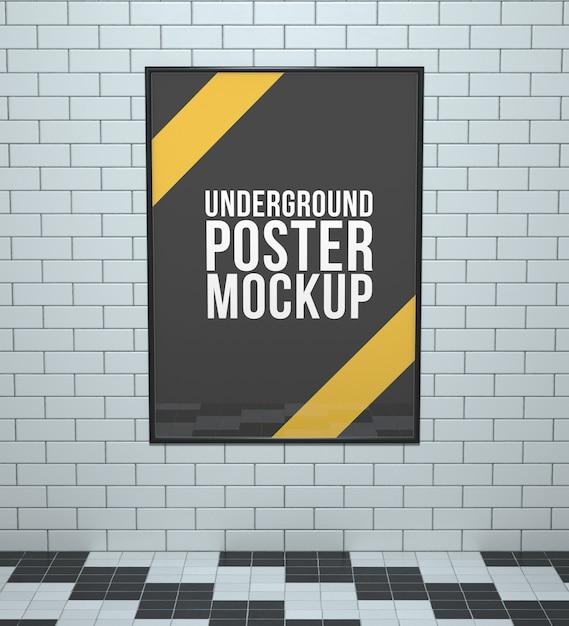Underground poster mockup Free Psd